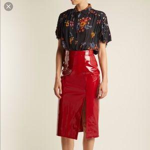 Saloni patent leather pencil skirt